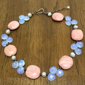 Vintage Pink Stone & Lavender Clear Bead Choker.